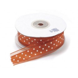 Ruban satin Orange à pois, 25 mm