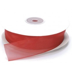 Ruban Organza, Rouge, 25 mm