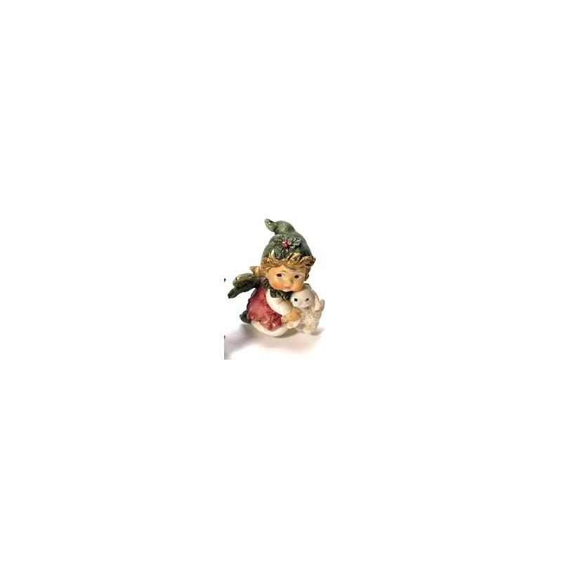 Ange d'houx avec son petit lapin