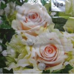 """20 Serviettes en papier """"Roses et perles"""""""