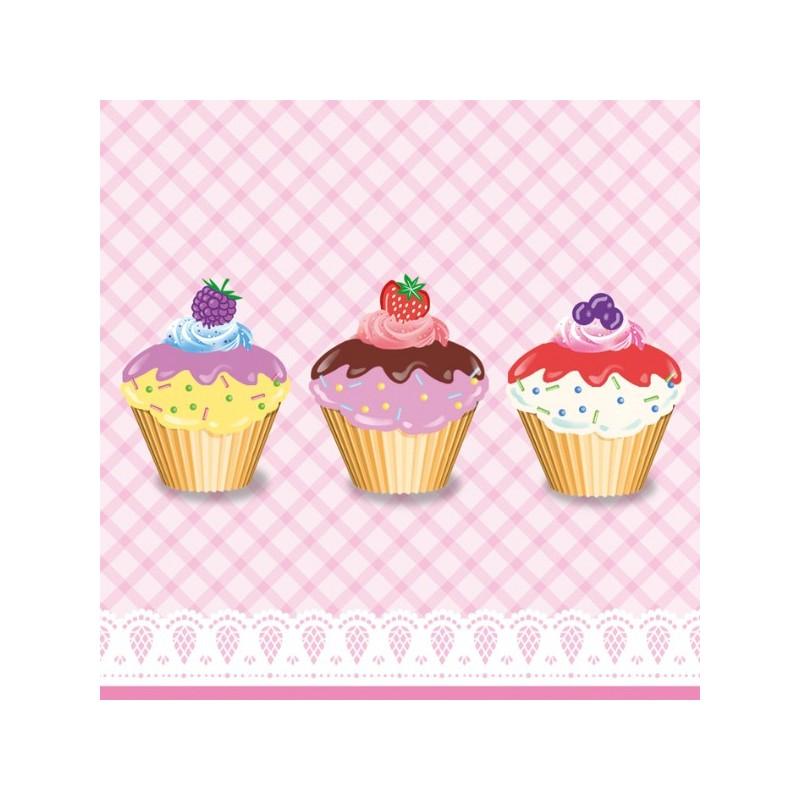 """20 Serviettes en papier """"Cupcakes"""""""