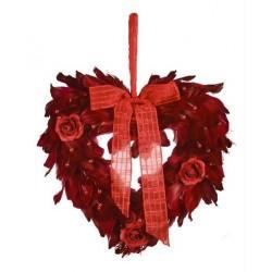 Coeur en plumes Rouges