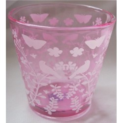 Photophore rose en verre