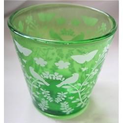 Photophore vert en verre