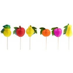 12 Piques décor fruits