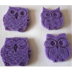 4 Hiboux en feutrine violette