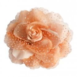 Rose en tissu mandarine à pois