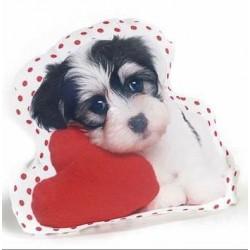 """Coussin """"chien avec coeur"""""""
