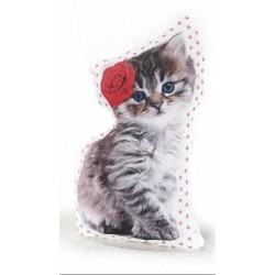 "Coussin ""chat avec rose rouge"""