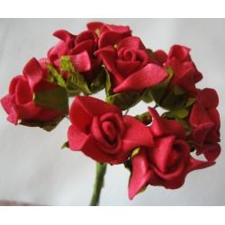 12 Mini roses rouges en mousse