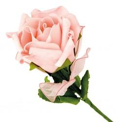 Rose avec 5 porte-dragées rose