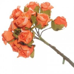12 mini roses orange en mousse