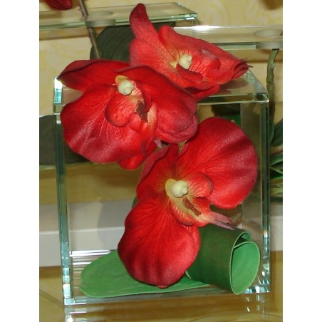 DECO CARRE ORCHIDEE ROUGE