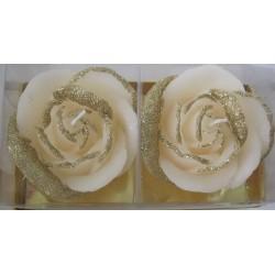 2 Bougies Fleur Rose