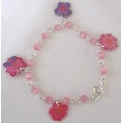 Bracelet  perles et fleurs