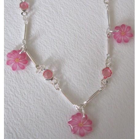 Collier chaîne strass fleurs