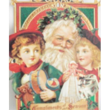 """Carte Double PM """"Père Noël et enfants"""""""